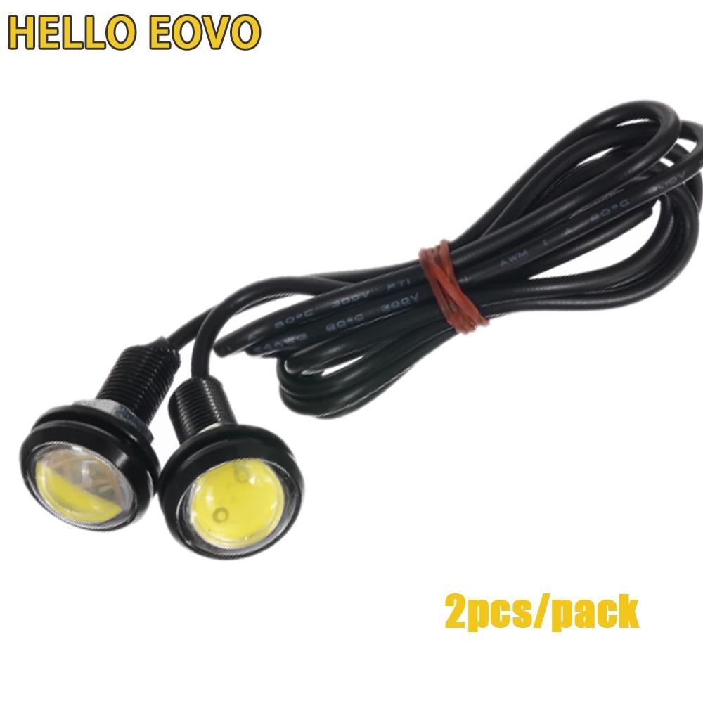 2pcs Daytime Running Lights Source Backup Reversing Parking Signal Lamp Waterproof 18-23mm Black/sliver Led Eagle Eye DI