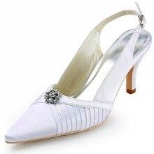 D-EP11113 Weiß Frauen Pumps Spitze Zehen High Heel Strass Plissee Brautkleid Schuhe