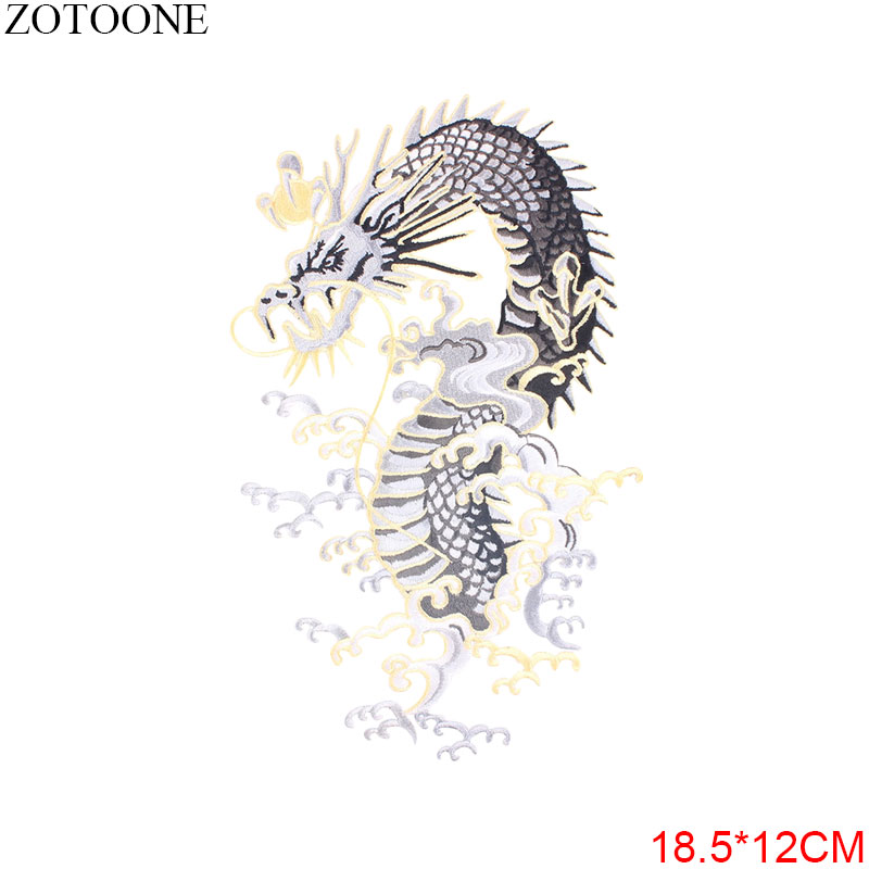 ZOTOONE Embroidered Dragon Patches for Clothes Stripe on Jacket Iron on Patch Sticker Applique Diy Appliques Garment Accessories in Patches from Home Garden