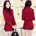 Новый шерстяной пиджак 2017 Весной и зимой женщин короткий параграф Тонкий двубортный Низи пальто женщина