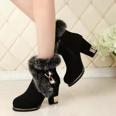 In The Autumn Of 2017 New European Crude With Rabbit Martin Waterproof Boots Boots Really High Side Zipper Boots Single Tide dearomatization of crude oil