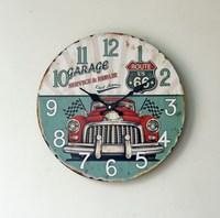 ヨーロッパスタイルレトロクラシックバブル車木材壁時計雑貨ルート66円形デジタルミュートクロック家の装飾35セン