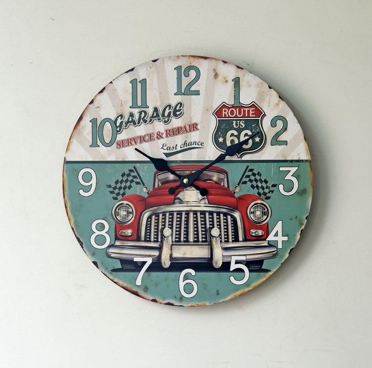 ᓂEuropa estilo retro clásico burbuja coche Reloj de pared de madera ...