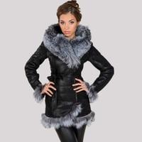 Заводские поставщик Новинка 2017 женские пальто мода искусственного меха лисы с капюшоном Теплая зима большие размеры высококачественные бр