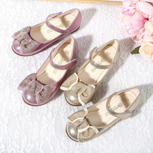 IYEAL Children's Spring Shoes Quality Fashion Kids Girls Sequins Princess Single Shoes With Bow Pink Gold Colors Optional