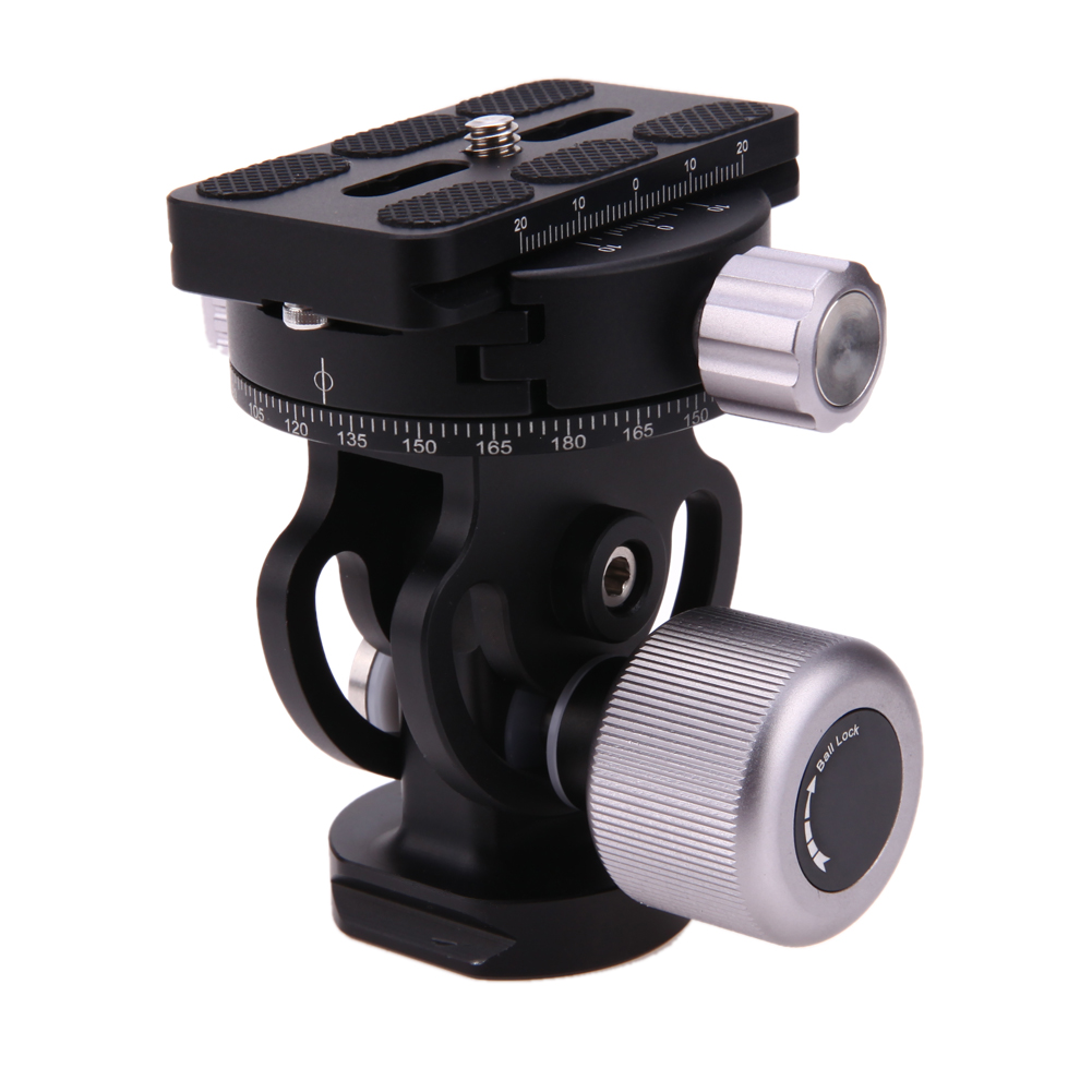 Panoramic 360 Degree Ball Head with Quick Release Plate Built-in 1/4 to 3/8 Adapter Screws for Camera Tripod Monopod aluminum gimbal swivel tripod ball head ball head with quick release plate 1 4 screw 36mm large sphere panoramic photos