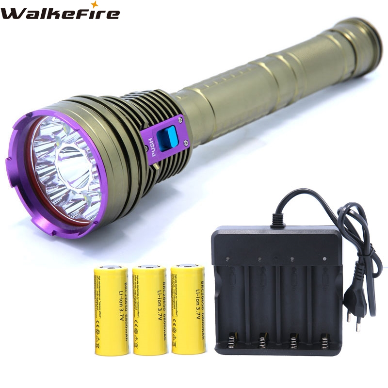 30000LM 12*XML T6 LED Waterproof 100m Diving Scuba Flashlight Torch & 4-slots Charger & 3*26650 rechargeable Battery ultra bright tactical flashlight usb rechargeable 26650 16340 battery xml t6 led torch for camping security emergency use