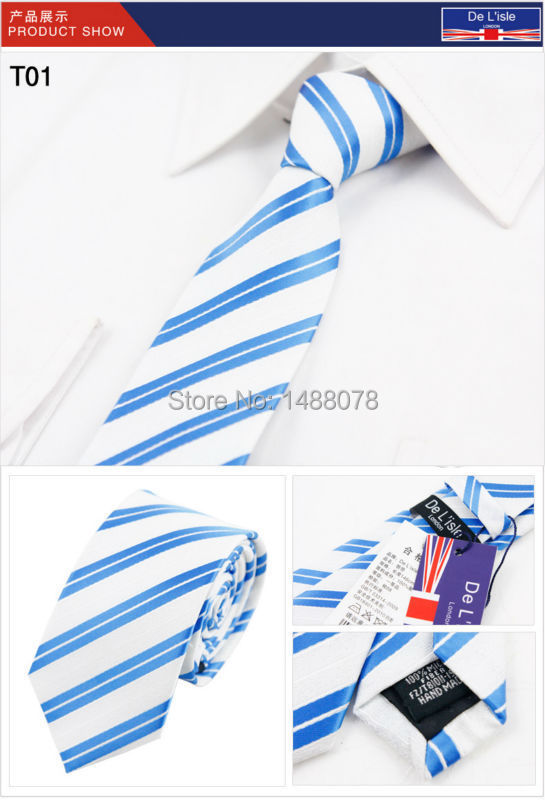 Blue White Striped Tie 2M6-18++