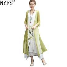 NYFS 2019 New summer dress Ink painting women dress two piec