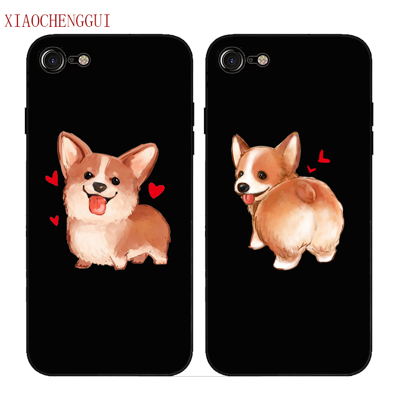 Cute Corgi Case For Apple iPhone <font><b>7</b></font> 5 5S SE 6 6S 8 Plus X <font><b>Sexy</b></font> Cartoon Dog Ass Black soft silicone Phone Cover image