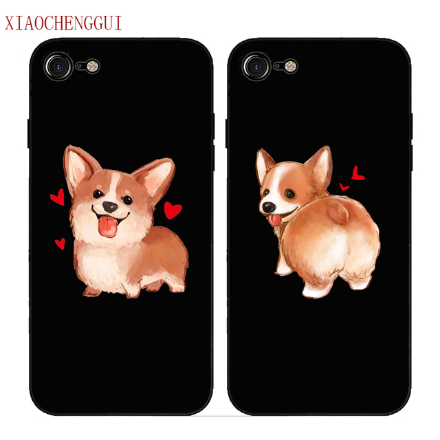 Super Cute Corgi Case For Apple iPhone 7 5 5S SE 6 6S 8 Plus X Sexy Cartoon Dog Ass Black soft silicone Phone Cover