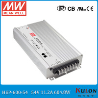 Original Meanwell HEP 600 54 high efficiency 600W 54V 11.2A output adjusted Power Supply for harsh environment