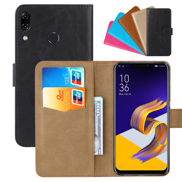 reputable site 32c2b 3eba8 US $3.91 10% OFF|Luxury Wallet Case For ASUS ZenFone 5 (ZE620KL)/5Z PU  Leather Retro Flip Cover Magnetic Fashion Cases Strap-in Flip Cases from ...