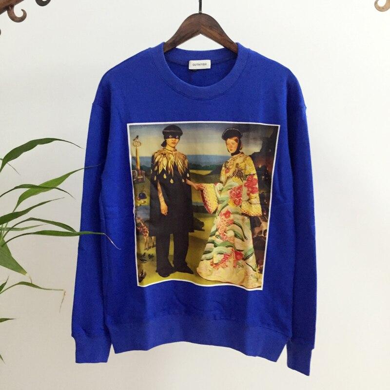 Frauen Hip Chart shirts Übergroßen Ölgemälde Karte Rundhals Neue Illusion Hop see Lose See T Ssweater Pullover Chart 8Xwxqx5P6