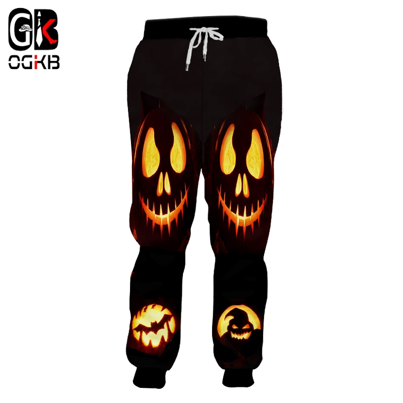 OGKB Winter Man Of Straw Pants 3D Printed Funny Pumpkin Halloween 5XL 6XL Horrible Skulls Costume Men Loose Bat Sweatpants 2018