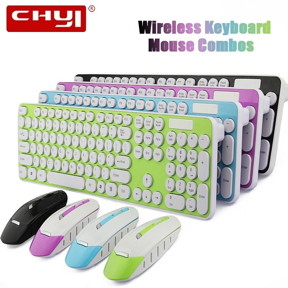 CHYI 2.4G Wireless Keyboard With Mouse Combos USB Receiver Optical Mouse Ultra Thin Offices Keyboard For Desktop Laptop PC Gamer
