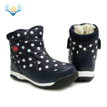 Navy young boots children shoes dots printing nice looking warm snow winter easy wear size 31 to 37 strong sole free shipp