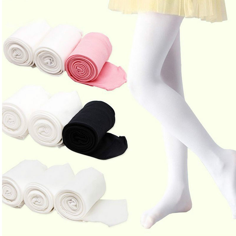 Children's Ballet Dance Tights Footed Seamless Kid Girls Pure Color Tights Stocking For Ballet Tights 4T 7T 10T
