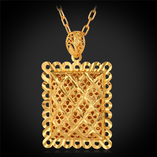Big pendant necklace gold color vintage hollow out rectangle fashion big pendant necklace gold color vintage hollow out rectangle fashion jewelry necklace for women men aloadofball Image collections