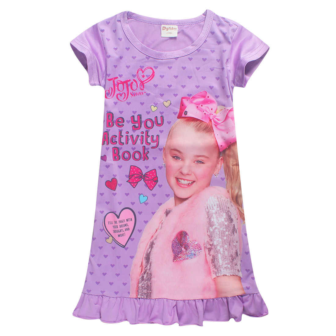 New Summer Jojo Siwa Dresses For Girls Dress Kids Clothes Sleepwear Princess Birthday Party Hair Bow