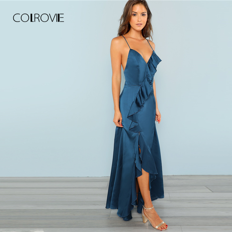 5f39d0ac1ed32 COLROVIE Blue Sexy V Neck Ruffle Trim High Split Hem Cami Party Dress Women  2018 Autumn Elegant Summer Long Dresses Maxi Dress-in Dresses from Women s  ...