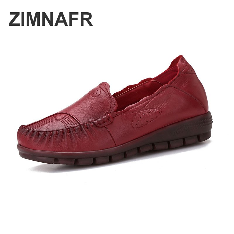 ZIMNAFR BRAND NEW WOMEN FLATS RETRO GENUINE LEATHER FLATS LADIES SRPING SHOES SOFT CASUAL SHOES WOMEN FLATS PLUS SIZE 35-41 aiyuqi 2018 spring new genuine leather women shoes comfortable soft flats women s shoes plus size 41 42 43 shoes women