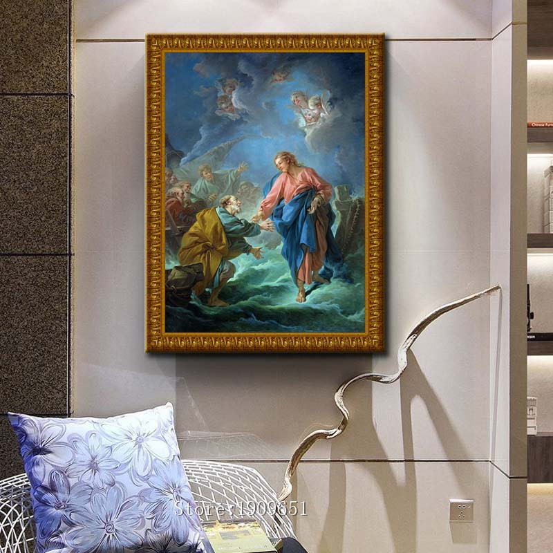 classical religious figures Christian Jesus canvas printings oil painting printed on cotton no frame wall art decoration picture-in Painting u0026 Calligraphy ... & classical religious figures Christian Jesus canvas printings oil ...