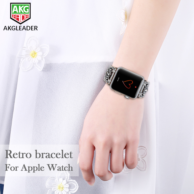 For Apple 38-42mm Watch Band Metal Diamond Carving Design Strap Women's Watch Bracelet For Apple iWatch Series 3 2 1 Wrist Band