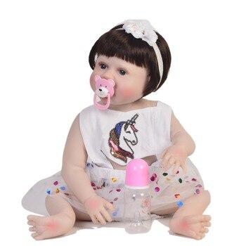55cm Full Silicone Body Reborn Baby Doll Toy Realistic Newborn Princess Girls Babies Doll Kid Brinquedos Bathe Toy bedtime babie