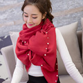 New Designed Scarves For Women Lady Long Pearl Decoration Scarf Imitation Cashmere Female Winter Dual-Use Thick Warm Wrap Shawls