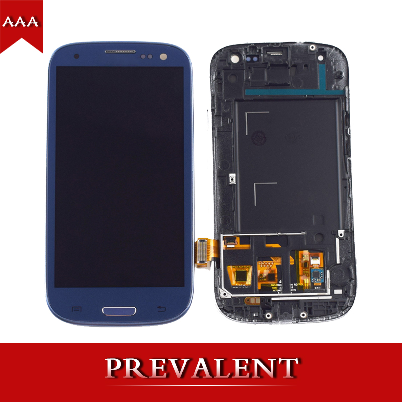 2 Colo For Samsung Galaxy S III S3 i9300 i9301 i9305 i535 i747 9300I LCD Display Monitor + Touch Screen Digitizer Assembly Frame