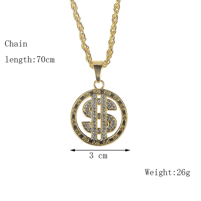 US Dollar Sign Micro Pave Rhinestone Necklace 2