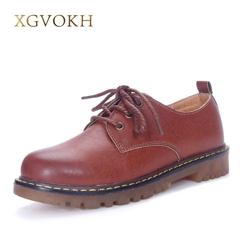 XGVOKH Brand Handmade women's shoes leather Platform casual Flats Spring Autumn Fashion Solid Lace-Up Dress Women Moccasins 2017 men shoes fashion genuine leather oxfords shoes men s flats lace up men dress shoes spring autumn hombre wedding sapatos
