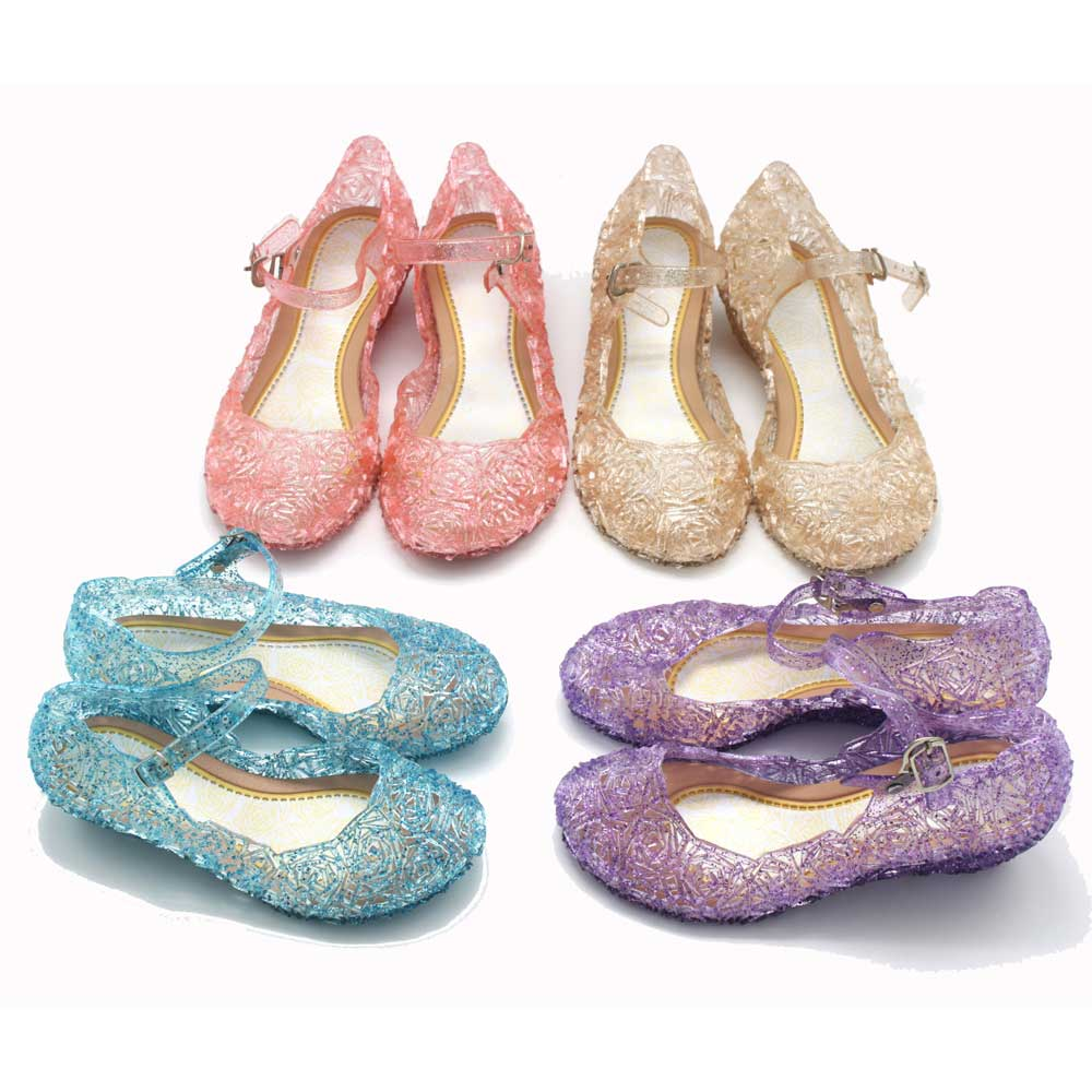25-37 Girls Dancing Sandals Kids Elsa Princess Shoes PVC Anna Elsa Crystal Shoes Birthday Party Cosplay Girl Dance Shoes