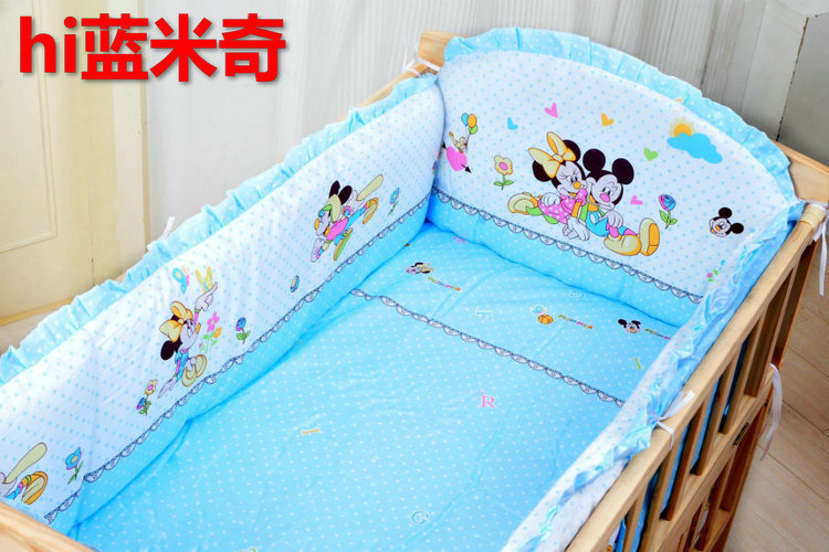 Promotion! 6PCS Cartoon Baby bedding set crib bedding set 100% cotton baby bedclothes (3bumper+matress+pillow+duvet) promotion 6pcs cartoon baby crib bedding set 100