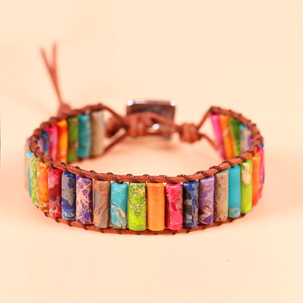 Boho Tube Shape Natural Stone Hand-woven Single Leather Wrap Bracelet Unique Natural Stone Beaded Bangle Bracelet