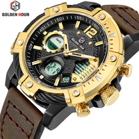 GOLDENHOUR Top Luxury Brand Men Waterproof Military Sports Watches Men's Quartz Analog Leather Wrist Watch Relogio Masculino