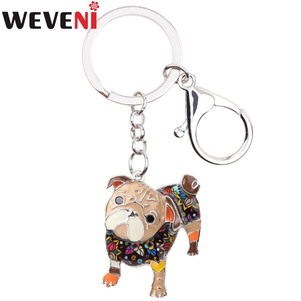 WEVENI Enamel Alloy Pug Dog Key Chain Bulldog Key Ring Handbag Charm New Fashion Jewelry For Women Man Car Keychain Accessories
