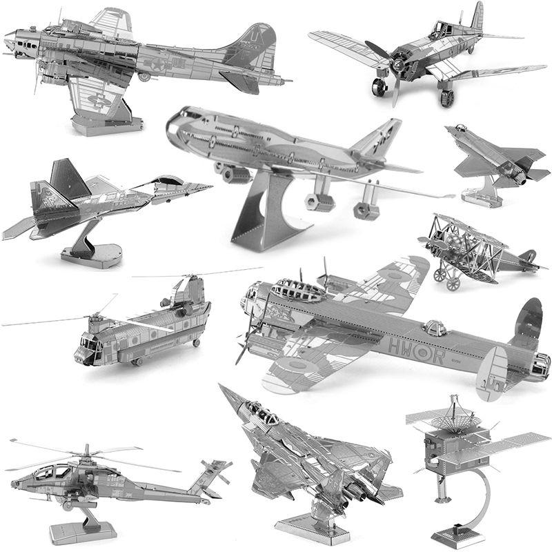 DIY 3D Metal <font><b>Puzzles</b></font> for children Adults Jigsaw AVRO Lancaster F22 Raptor B17 flying F-35 Fighter F-15 Eagle Fighter <font><b>puzzles</b></font>