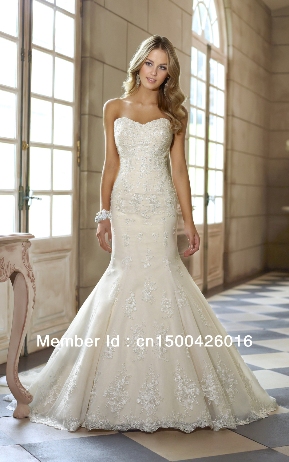 Hot sale strapless sweetheart low back long train trumpet mermaid ...