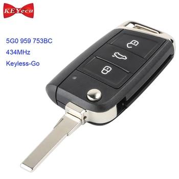 KEYECU for Volkswagen MQB Golf VII MK7 for Skoda Octavia A7 Keyless-Go Remote Control Car Key Fob 434MHz ID48 5G0 959 753BC