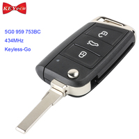 KEYECU for Volkswagen MQB Golf VII MK7 for Skoda Octavia A7 Keyless Go Remote Control Car Key Fob 434MHz ID48 5G0 959 753BC