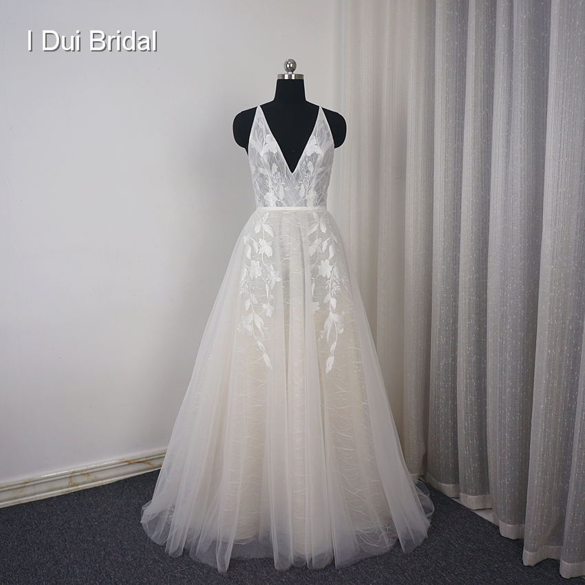 V Neck Beach Wedding Dress Real Price Lace Appliqued