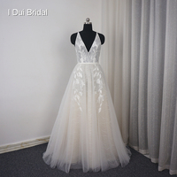 V Neck Beach Wedding Dress Real Price Lace Appliqued Illusion Bare Back Bridal Gown