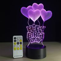 LED Night Light 7 Colors Happy Birthday Lamp For Party 3D Illusion Glow Party Decor Lamp