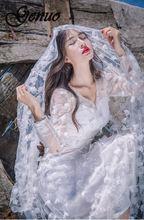 цены Genuo Women Party Dress Elegant Long Sleeve Chiffon Lace Stitching Party Prom Evening Long Dress Female Maxi Dress Half sleeve