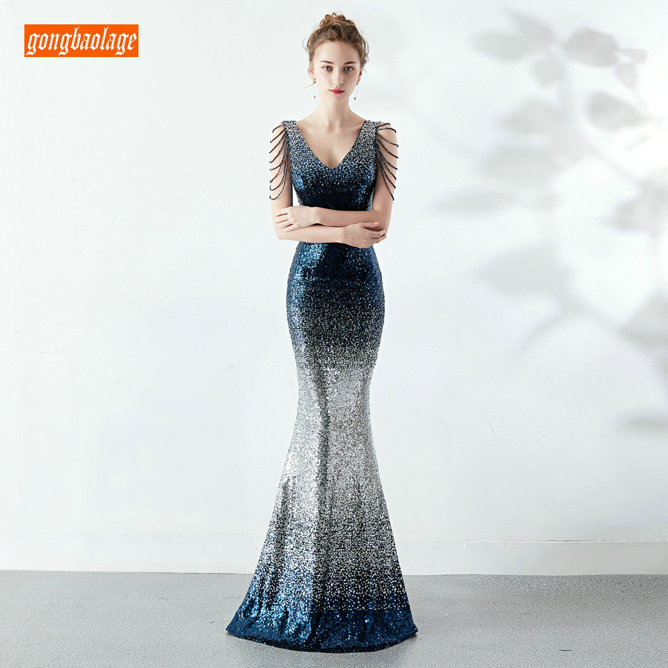Stylish Contrast color Women Long Dresses Evening 2019 Evening Gowns V Neck Sequined Bling Crystal Lady