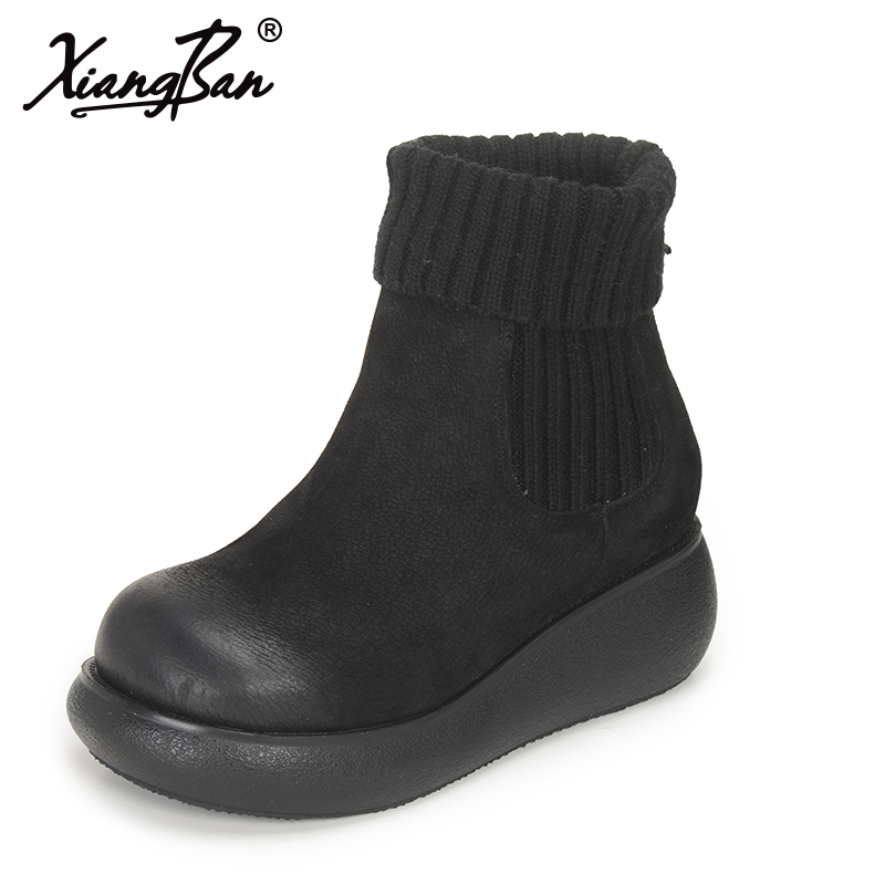Xiangban Flat Platform Boots Knitting Wool Winter Women Ankle Boots Genuine Leather Ladies BootsXiangban Flat Platform Boots Knitting Wool Winter Women Ankle Boots Genuine Leather Ladies Boots
