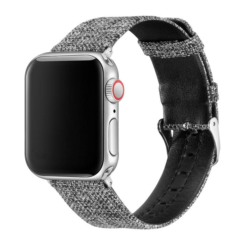 Pulseira de relógio de couro para o esporte do relógio da apple faixas de couro e pulseira de tecido compatível para iwatch série 4/3/2/1 ll83003