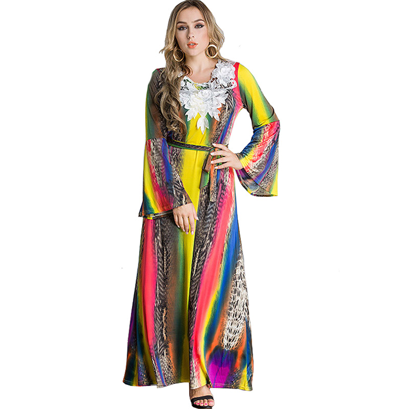 Arabian Islamic Women Rainbow Dress Lace Patchwork Flare Sleeve Colourful Plus Size Long Maxi Dress Vintage Robe Longue Vestidos